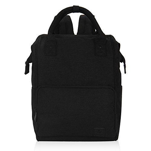 Veegul Stylish Doctor Style Multipurpose Travel Backpack Everyday Backpack for Men Women Single Pocket Black Polyester