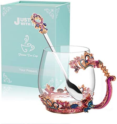 ANBET Taza de té de Vidrio, Taza de café con té de Flores ...