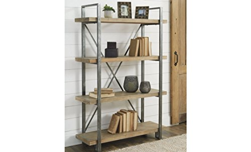 Ashley Furniture Signature Design - Forestmin 4-Shelf Bookshelf - Medium Brown Finish - Gray Finished Metal
