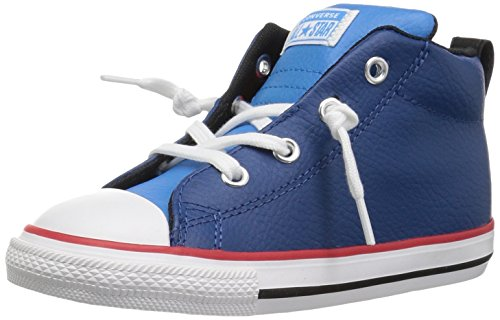 Converse Boys' Chuck Taylor All Star Street Leather Mid Sneaker, Blue, 10 M US Toddler