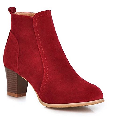 KingRover Women's Shoe Faux Suede Western Ankle Boots¨CRound Toe Stacked High Chunky Heel¨CComfortable Boot Burgundy mGlWWkB
