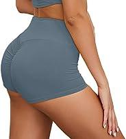 Yoga Shorts Butt Lift for Women High Waist Tummy Control Spandex Booty Lifting Shorts Running Workout Short Le