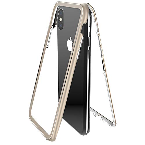 Ultra Slim Magnet Protective Case with Metal Frame Tempered Glass Back [Magnetic Adsorption Technology] [Support Wireless Charging] (Gold-Xs 5.8 in)