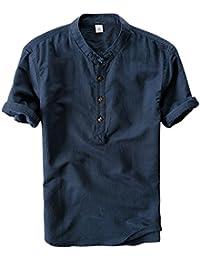 Men's Retro Chinese Style Short Sleeve Linen Henley Shirts
