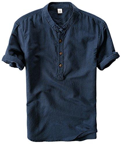 Mandarin Collar Shirt - utcoco Men's Retro Chinese Style Short Sleeve Linen Henley Shirts (X-Large, Dark Blue)