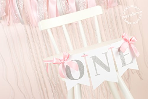 Pink and Silver First Birthday Banner : High Chair - And Silver Pink