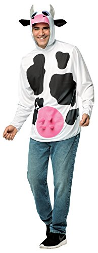 [UHC Unisex Adult Cow Shirt w/ Hood Funny Comical Theme Party Halloween Costume, OS] (Comical Halloween Costumes)