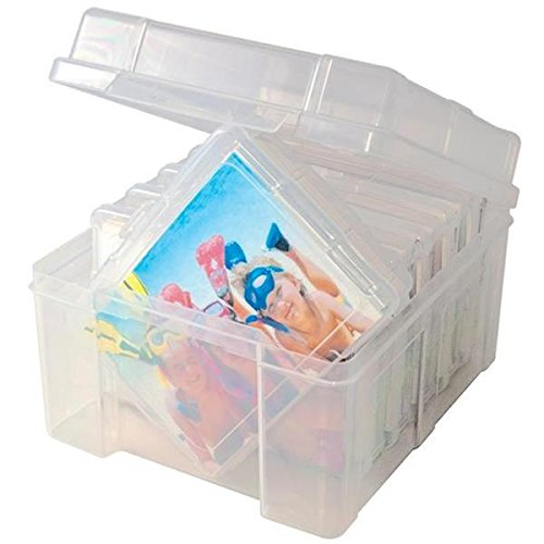 Advantus Photo Keeper Box with 6 Individual Clear Photo Cases, Holds up to 600 Photos (Clear Photo)