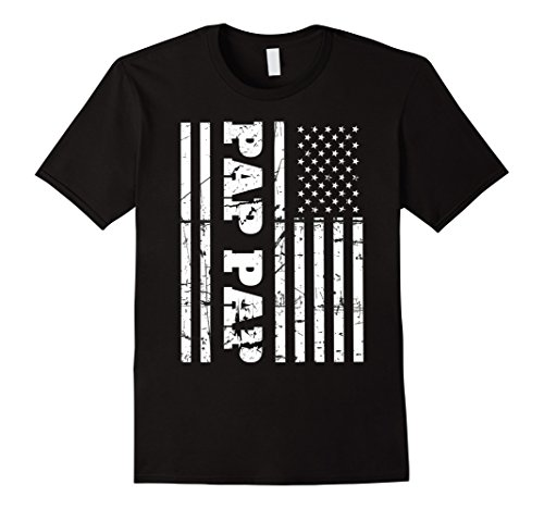 Mens Vintage Pap Pap T-Shirt with American Flag Grandfather's Gif XL - Gif Usa