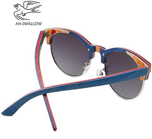 JKNK 2019 Skateboard Wood Polarized Semi-Frame Sunglasses For Men Tac Lens Anti-Retro Ultraviolet Sunglasses, Grey, Papercased