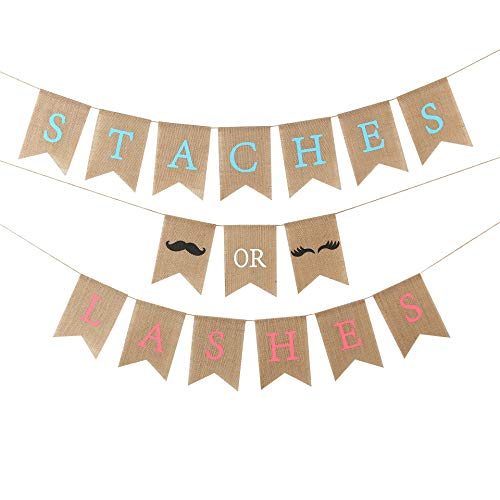 WAOUH Baby Gender Reveal Party Supplies - Burlap Banner for Gender Reveal ,Perfect Gender Reveal Ideas Theme, Boy or Girl Banner for Party Decorations (STACHES OR LASGES Gender Reveal Banner) -