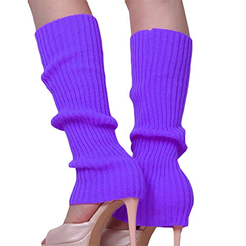 Song Girls Teen 80s Dance Plain Ribbed Women Knit Crochet Long Leg Warmers Fancy Dress (Purple)