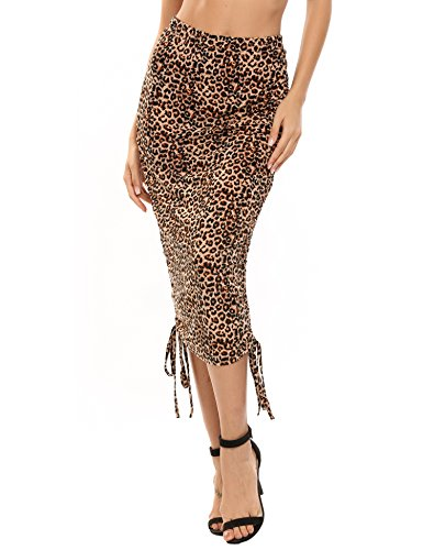 Zeagoo Women's Ruched Frill Ruffle High Waist Pencil Skirt Adjustable Length Mini & Mid Calf Style,Leopard,Large (Leopard Stretch Skirt)