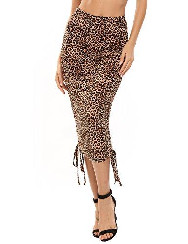 (Zeagoo Women's High Waist Ruched Frill Ruffle Mini/Mid Calf Pencil Skirt)
