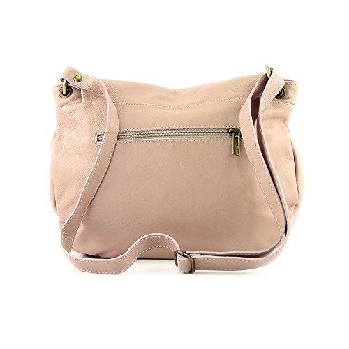 en rose glissière sacs bandoulière à Italie cuir compartiments fermeture vachette portés Sac deux de à OLGA clair fabriqué avec épaule à HwqTzf