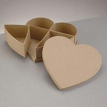 Caja con corazón de almacenaje (cartón reciclado, con 4 compartimentos, recinto 22 x 22 x h.6.5 cm: Amazon.es: Hogar