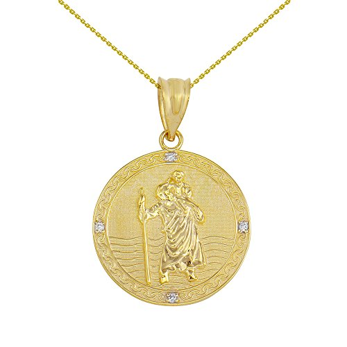10k gold st christopher medal - 5