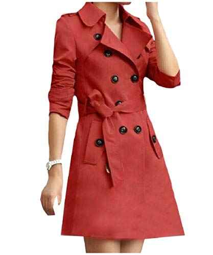 - Tootless-Women Trench Double-Breasted Belt Slim Notch Collar Dust Coat Wine Red M
