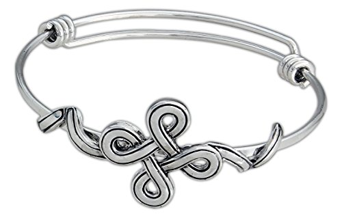 "Gift craft ""Thoughts to Share"" Expandable Bangle Bracelet (Friendship Knot – Silver Tone)"
