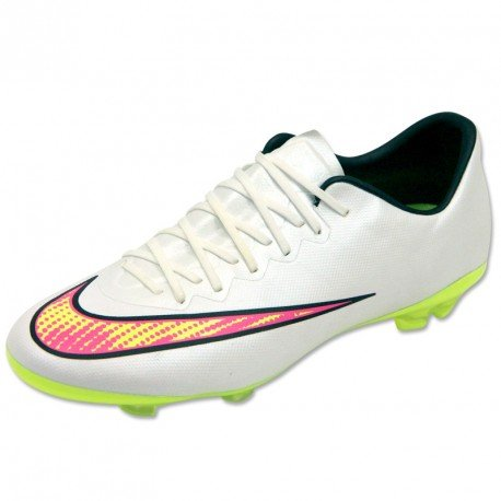 Nike JR Mercurial Vapor X FG White/Volt/Pink/Black Size 5.5Y by NIKE