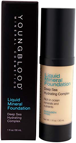 Youngblood Clean Luxury Cosmetics Liquid Mineral Foundation, Sand   Dewy Mineral Lightweight Full Coverage Makeup for Dry Skin Poreless Flawless Tinted Glow   Vegan, Cruelty-Free, Gluten-Free
