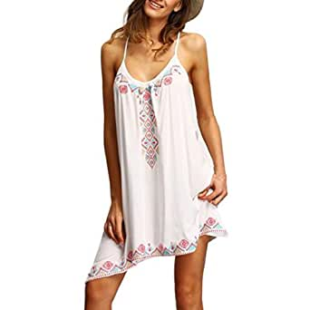 vovotrade boho Mujer Playa sin mangas del partido del verano Mini vestido corto (S, Blanco)