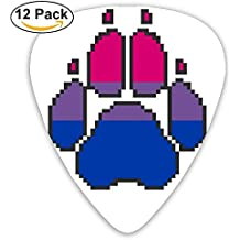Custom Guitar Picks Paw Print Bisexual Celluloid Plectrums For Guitar Bass,12 Pack Includes Thin, Medium & Heavy Gauges
