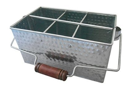 Shabby Chic Hammered Tin Utensil Caddy and Kitchen Organizer
