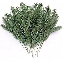 JAROWN 25pcs Artificial Pine Green Leaves Needle Garland for Christmas Embellishing and Home GardenDecor