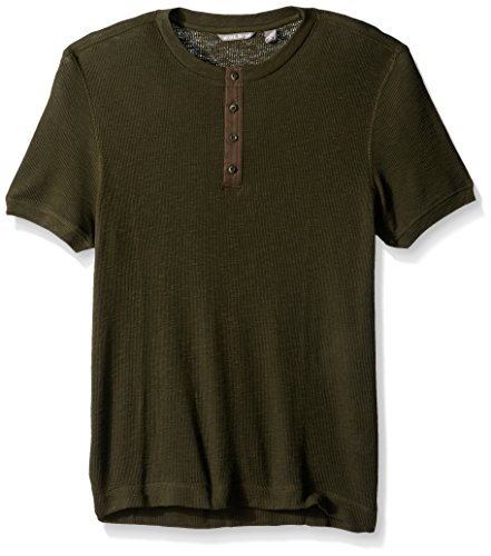 Michael Bastian Men's Short Sleeve Cotton Waffle Henley, deep Depths, L from Michael Bastian