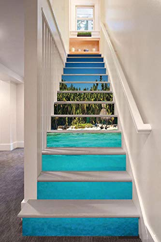 Ocean 3D Stair Riser Stickers Removable Wall Murals Stickers,Photo of a Tropical Beach with Palm Trees and Sea Ocean Sand Calm Dominican Paradise Print,for Home Decor 39.3