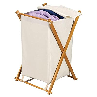 Household Essentials Wood X-Frame Hamper with Polyester Bag and Lid -  - laundry-room, hampers-baskets, entryway-laundry-room - 41jkNpCbvXL. SS400  -