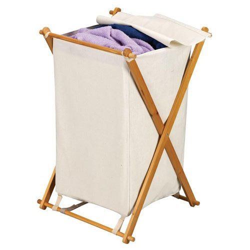 Household Essentials Wood X-Frame Hamper with Polyester B...