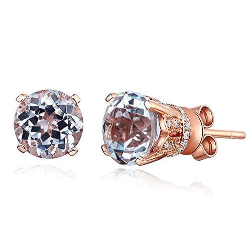 Style vintage Boucles d'oreilles clous en or rose 14K boucles d'oreilles topaze Transparent Naturel 0,12carats diamants
