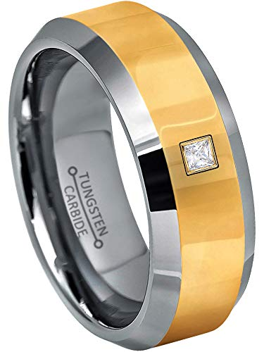 0.05ctw Solitaire Princess Cut Diamond Tungsten Ring - 8MM Polished 2-Tone Beveled Edge Tungsten Carbide Wedding Band - April Birthstone Ring - s9 ()