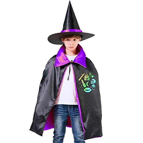 Wodehous Adonis Pastel Goth Witch Creepy Cute Graphic Kids Halloween Costume Cape Witches Cloak Wizard Hat Set -