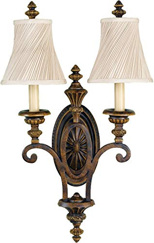 Feiss WB1289WAL Drawing Room Fabric Shade Wall Sconce Candle Lighting, Brown, 2-Light (15