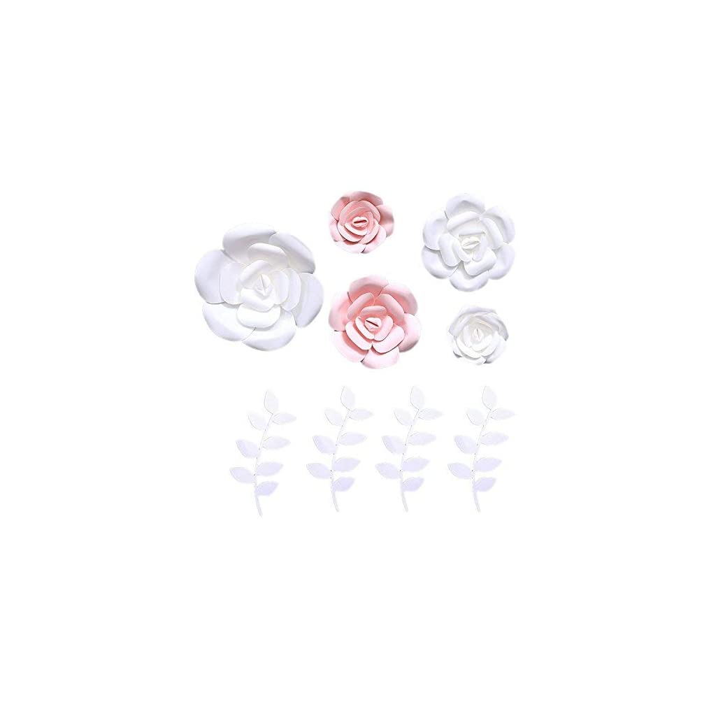 Fonder-Mols-3D-Paper-Flowers-Decorations-Pink-White-Set-of-5-Giant-Wedding-Flowers-Centerpieces-Birthday-Backdrop-Nursery-Wall-Decor-Photobooth-NO-DIY
