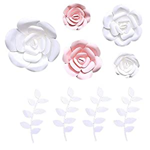 Fonder Mols 3D Paper Flowers Decorations (Pink White, Set of 5) Giant Wedding Flowers Centerpieces, Birthday Backdrop, Nursery Wall Decor, Photobooth (NO DIY) 2