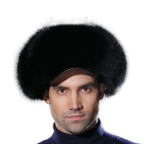 URSFUR Russian Fur Trapper Hat Leather Winter Men's Real Fox Fur Visors Cap Black by URSFUR