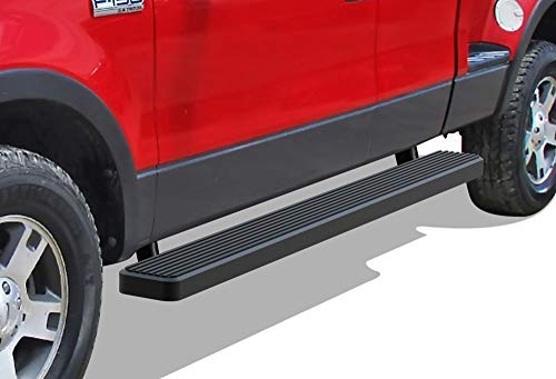 (APS iBoard Running Boards (Nerf Bars | Side Steps | Step Bars) for 2004-2008 Ford F150 Super Cab (Excl. Heritage) | (Black Powder Coated 6 inches))
