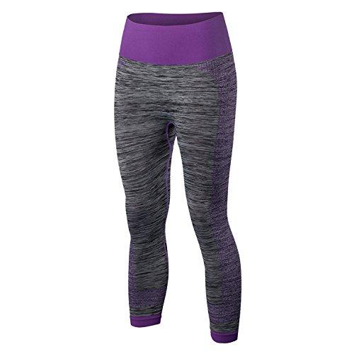 ZHLONG Tramo corto de yoga apretado y secado rápido Purple