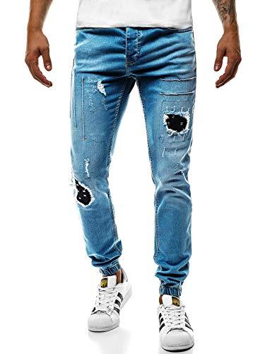 Fit Pantalón Hombre Informales Slim Rotos OT 2036S Moderno Corte Claro ot Recto Pantalones Azul de Pernera Vaqueros Ozonee OZONEE 2036s Pantalones Mix de Clubwear nawfxqS40