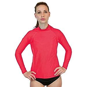 Swim Shirt For Women - Long Sleeve Rash Guard Top With UV 50 Skin / Sun Protection, Workout Shirt., Made In USA! (Salmon, Medium)