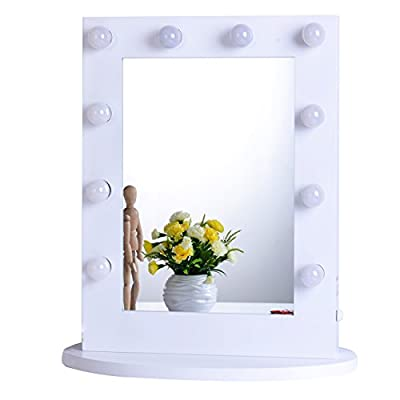Chende Hollywood Makeup Vanity Mirror with Light Tabletops Lighted Mirror with Dimmer, LED Illuminated Cosmetic Mirror with LED Dimmable Bulbs, Wall Mounted Lighting Mirror