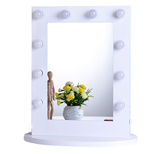 eup Vanity Mirror with Light Tabletops Lighted Mirror with Dimmer, LED Illuminated Cosmetic Mirror with LED Dimmable Bulbs, Wall Mounted Lighting Mirror (White, 6550) ()
