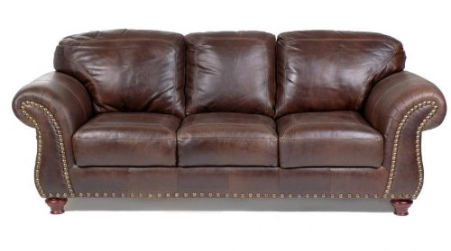 (Capri 100% Full Aniline Dyed Antique Brown Nail Head Brazilian Leather Sofa)