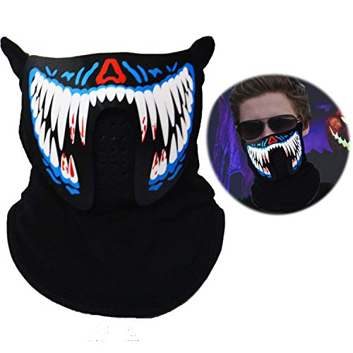 Halloween Light Up Rave Mask LED Flashing Luminous Cool Party Mask Sound Active for $<!--$7.00-->