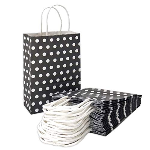 ADIDO EVA Paper Gift Bags Black with White Dots Kraft Paper Bags with Handles Goodie Bags for Kid's Birthday Wedding Holiday Party Favor Bags(8.2 x 6 x 3.1 in 25 PCS