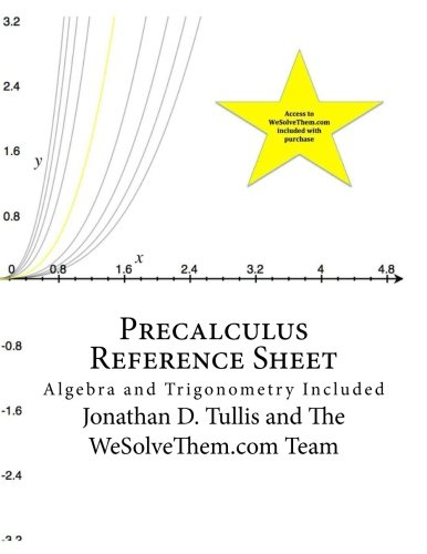 Precalculus Reference Sheet: Algebra and Trigonometry Included (Reference Sheets) ebook